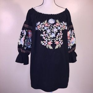 Free People Tunic Top L Fleur Du Jour Embroidered